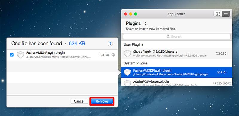 選択したプラグインと関連ファイルの削除