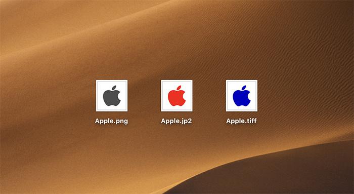 異なるファイル形式の画像ファイル
