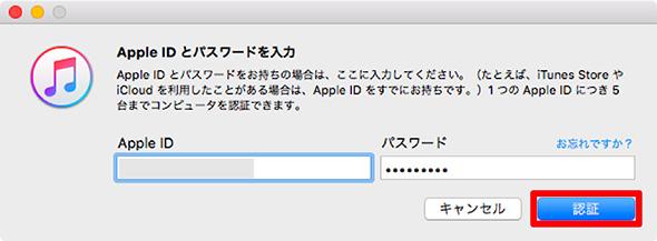 認証のためにApple IDとパスワードを入力