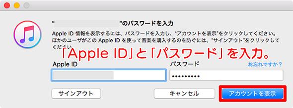 アカウント表示するためのApple IDパスワード入力