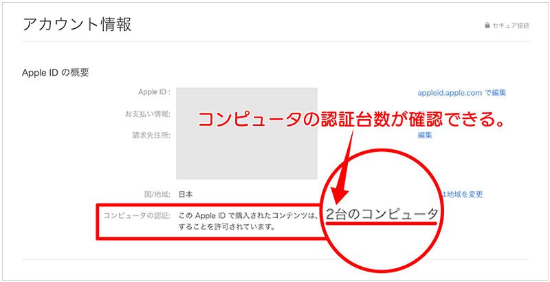 Apple IDのアカウント情報ページ